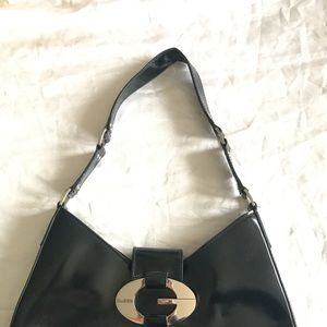 Guess black patent shoulder bag